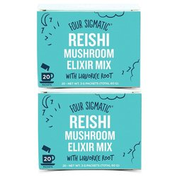 2 x Instant Reishi Mushroom Elixir Organic Drink Mix with Liquorice Root by Four Sigmatic 20 Sachets
