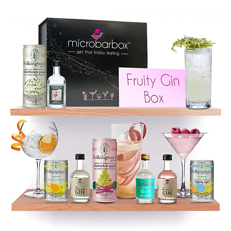 'Fruits & Flowers' Gin Gift Box with Dry Gin, Gin Liqueurs, Pressé & Tonic