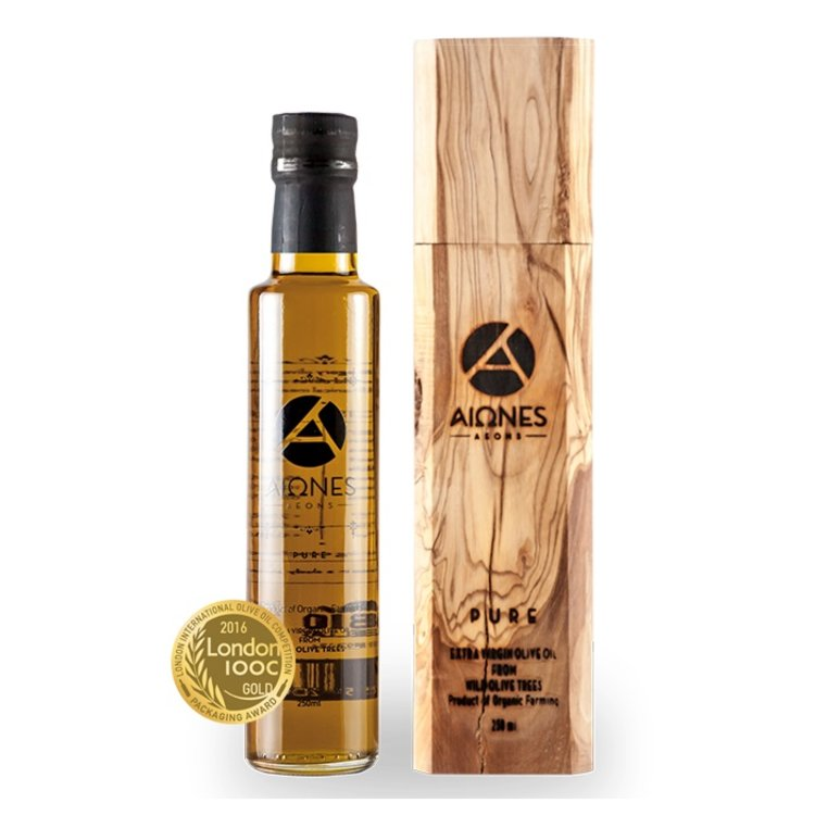 Extra Virgin Wild Greek Olive Oil 250ml (Organic) in Wooden Gift Box