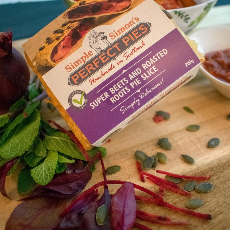 4 x Roasted Roots Vegan Puff Pastry Pie Slice with Super Beetroot, Parsnips, Carrots & Onions (4 x 200g)