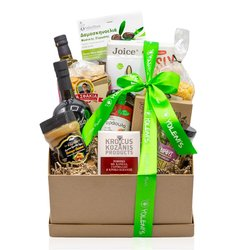 Greek 'Guilt-Free Pleasure' Gift Box Inc. Herbal Tea, Strawberry Jam, Peanut Butter & Olive Oils