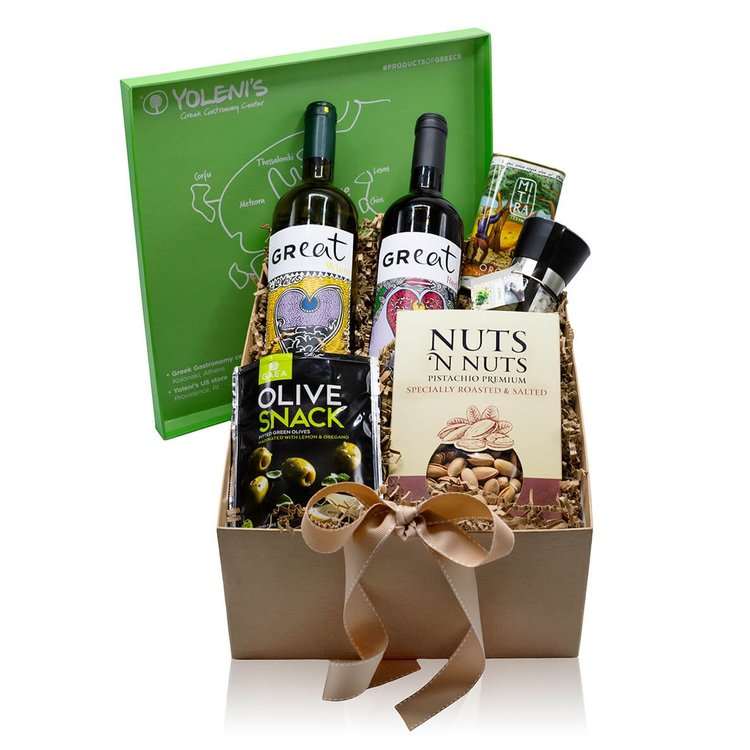'A Flavourful Pairing' Greek Wine & Accompaniments Gift Box Inc. Red & White Wine, Olives & Olive Oil