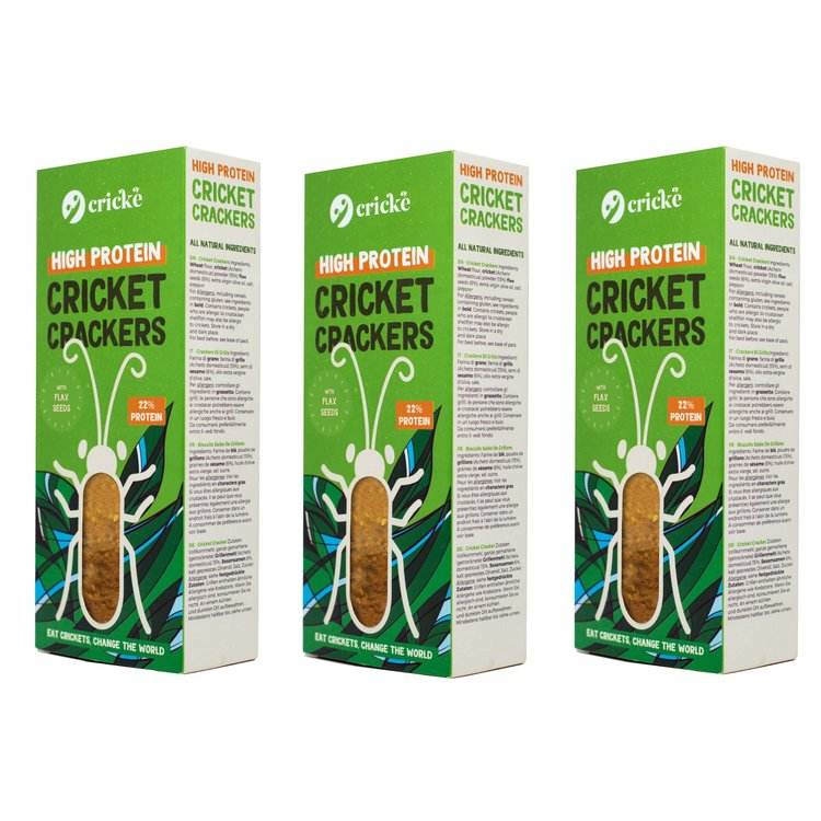 3 Cricket Crackers High Protein Snack with Flax Seed & Cricket Powder (3 x 85g)