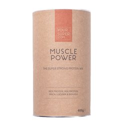 Organic 'Muscle Power' 60% Protein Powder Inc. Pea & Rice Protein, Maca, Lucuma & Banana