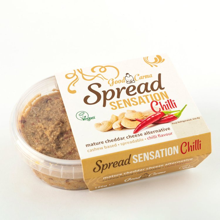 Cashew Nut Spreadable Vegan Cheese with Chilli 'Spread Sensation' Mature Cheddar Alternative 150g