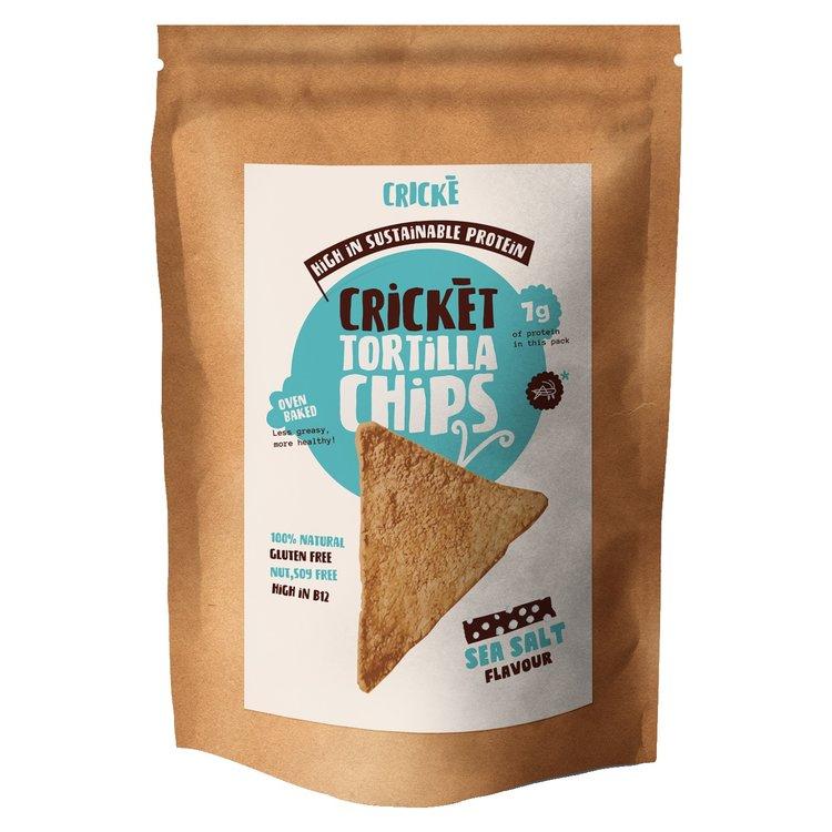 3 x Sea Salt & Cricket Tortilla Chips High Protein Snack 100g (Gluten-Free)