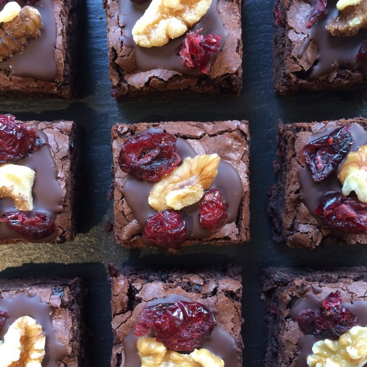 12 Vegan Fruit & Nut Chocolate Brownies with Walnuts & Cranberries