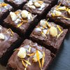 12 Vegan Ginger Chocolate Brownies with Edible Petals