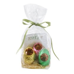 3 Raw Organic Chocolate Easter Eggs Gift Bag Inc. Chocolate Truffle, Brazil Nut & Strawberry