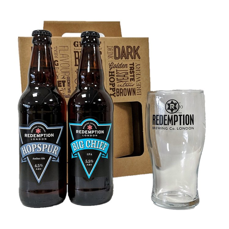 Craft Beer & Pint Glass Gift Box with Hopspur Amber Ale & Big Chief IPA