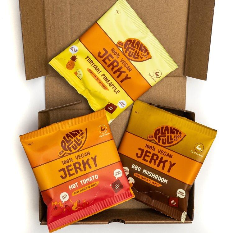 3 Vegan Jerky Sampler Snack Packs with Teriyaki Pineapple, BBQ Mushroom & Hot Tomato (3 x 30g)
