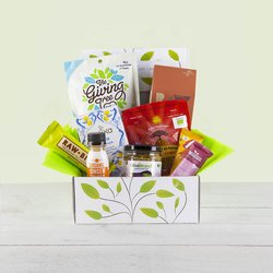 'Supercharge' Natural Hamper Gift Box Inc. Fruit Crisps, Almonds, Lemon Tea & Ginger Shot