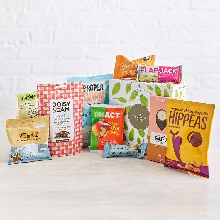 Limited Edition Vegan Snacks Gift Box Inc. Nuts, Chocolate & Popcorn