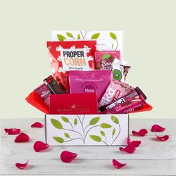 Vegan 'Love Chocolate & Snack' Hamper Gift Box Inc. Booja Booja Truffles, Snack Bars & Popcorn