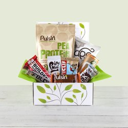 'Mr. Fit Vegan Protein Hamper' Gift Box Inc. Pea Protein Powder, Protein Bars & Peanut Butter