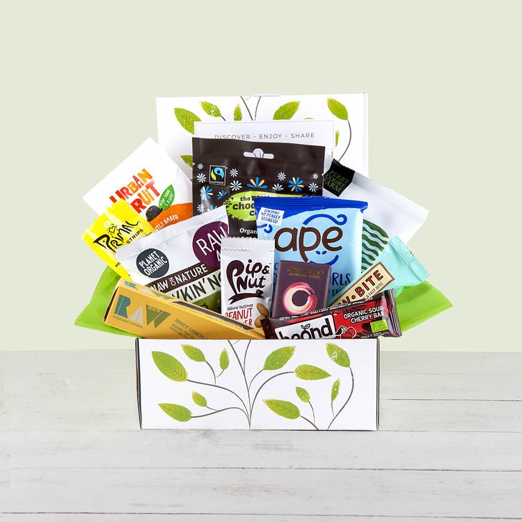 Vegan Paleo Snack Gift Hamper Inc. Vegan Jerky, Fruit & Nut Bars, Dried Fruit & Peanut Butter