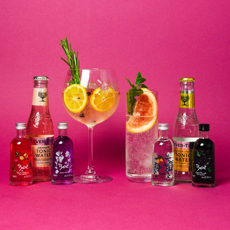 Scottish Boe Gin & Tonic Gift Set Inc. Bramble and Peach & Hibiscus Gin Liqueurs