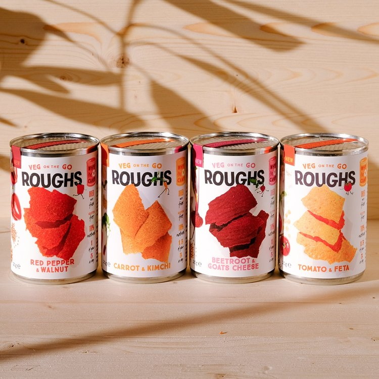12 Mixed Flavour Crispy Dried Vegetable 'Roughs' Vegan Snack Tins (12 x 20g)
