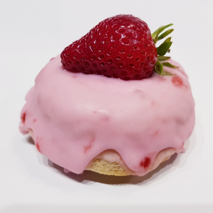6 'Strawberries Fields' Strawberry & Vanilla Baked Vegan Doughnuts