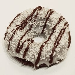 6 'Bounty Hunter' Coconut & Chocolate Baked Vegan Doughnuts