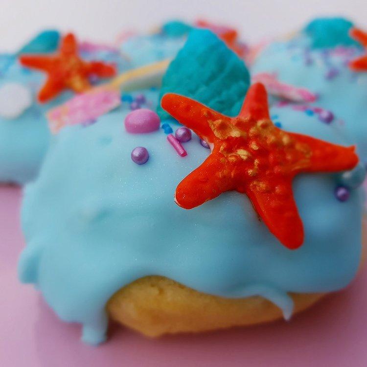 4 Large 'Mermaid' Sea Blue Vanilla Baked Vegan Doughnuts