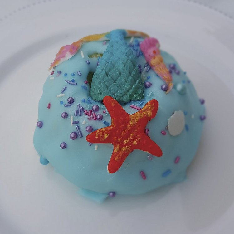 4 Large 'Mermaid' Sea Blue Chocolate Baked Vegan Doughnuts