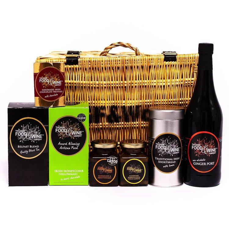 'The Gourmet Irish' Gift Hamper Inc. Non-Alcoholic Ginger Port, Chocolate Truffles & Shortbread in Wicker Hamper