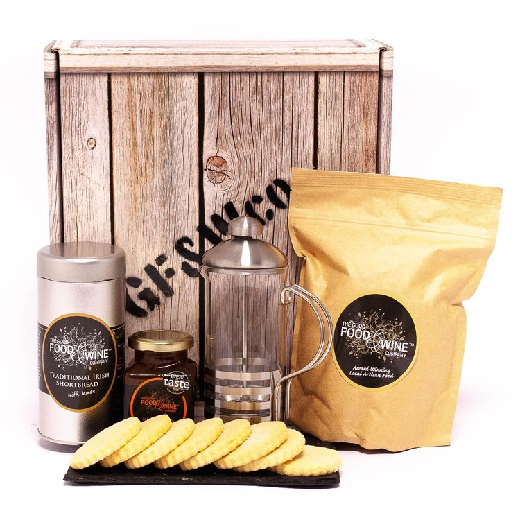 'A Taste of Ulster' Coffee Gift Box Inc. Glass French Press Coffee Maker & Roasted Coffee Beans