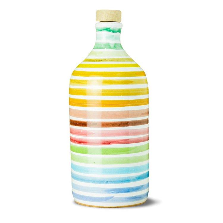 Italian Coratina Extra Virgin Olive Oil in Rainbow Ceramic Bottle by Frantoio Muraglia 500ml