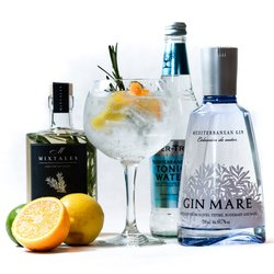 Gin & Tonic Cocktail Gift Kit Inc. Gin Mare Gin, Rosemary & Elderflower Syrup & Tonic