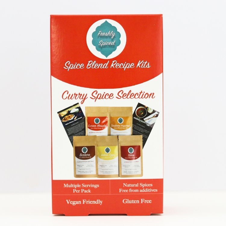 Curry Spice Blend Selection Gift Box Inc. Tikka Masala, Tandoori & Berbere Blends