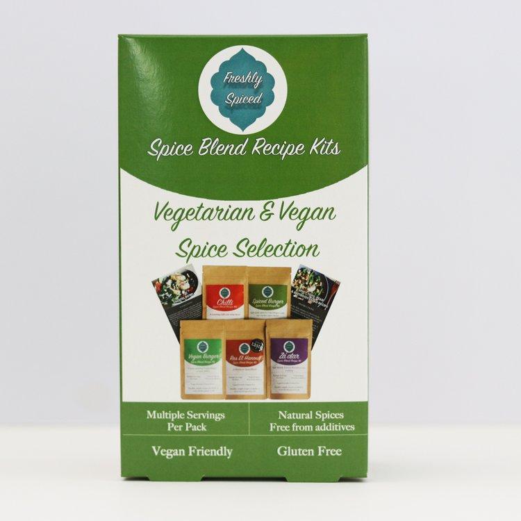 Vegetarian & Vegan Spice Blend Selection Gift Box Inc. Vegan Burger, Chilli & Za'atar Blends