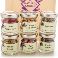 6 Botanical Jars Gin Infusion Gift Set with Instructions - For Infusing & Garnishing Gin