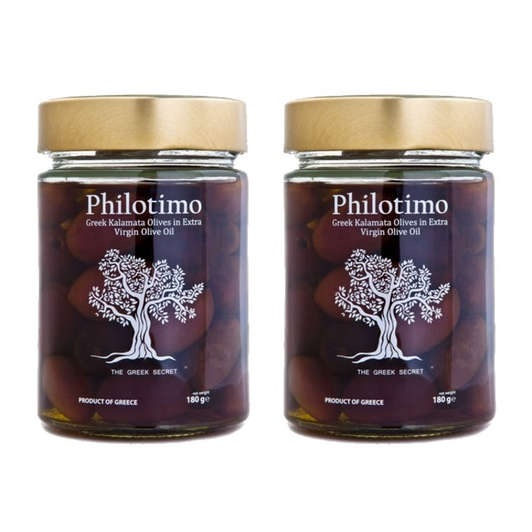2 x Greek Pitted Whole Kalamata Olives in Extra Virgin Olive Oil (2 x 180g)