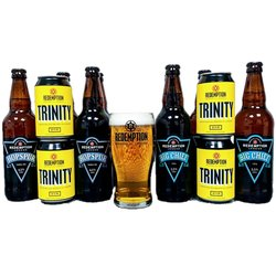 Craft Beer & Pint Glass Gift Set with Hopspur Amber Ale, Trinity Pale Ale & Big Chief IPA