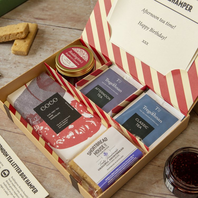British Afternoon Tea Gift Letter Box Hamper with Tregothnan Estate Tea