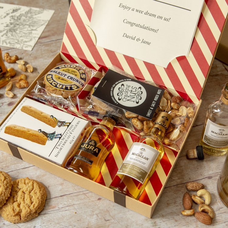 Scottish Whisky Lover Gift Letter Box Hamper with Macallan & Jura Single Malt Whisky & Biscuits