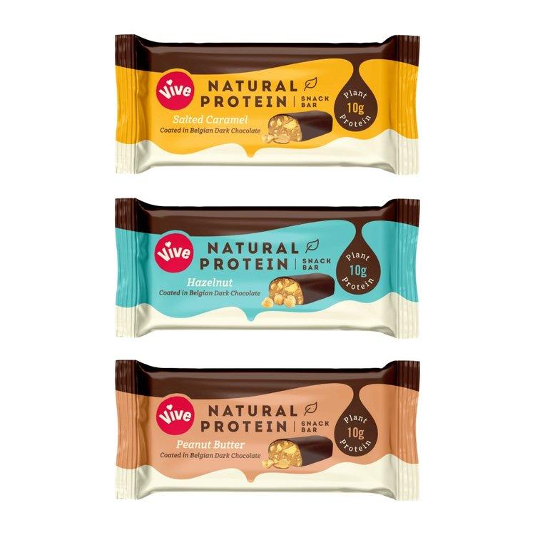 12 x Mixed Dark Chocolate Coated Vegan Protein Snack Bar Set