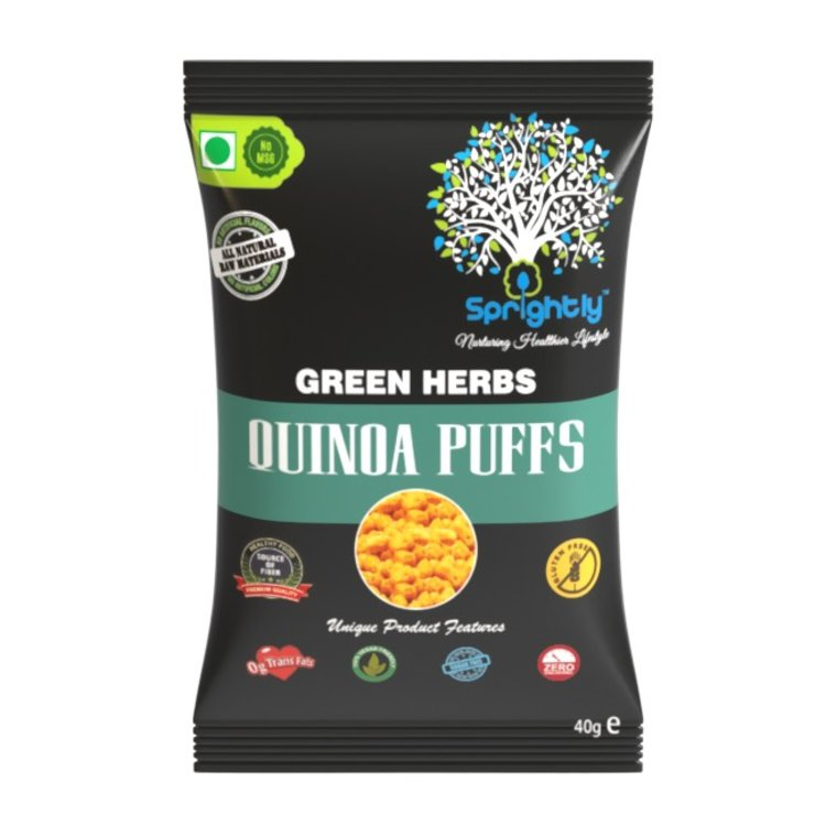Green Herbs Roasted Quinoa Puffs Snack 40g (Vegan)