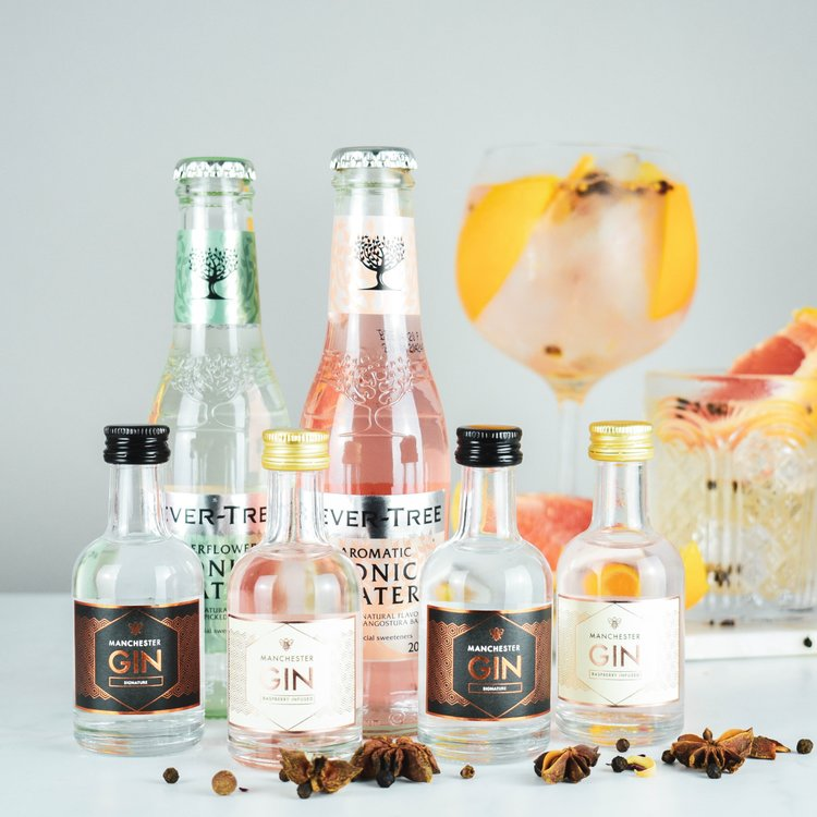 Manchester Gin & Tonic Gift Set Inc. Signature, Raspberry Pink Gins & Premium Tonic Waters