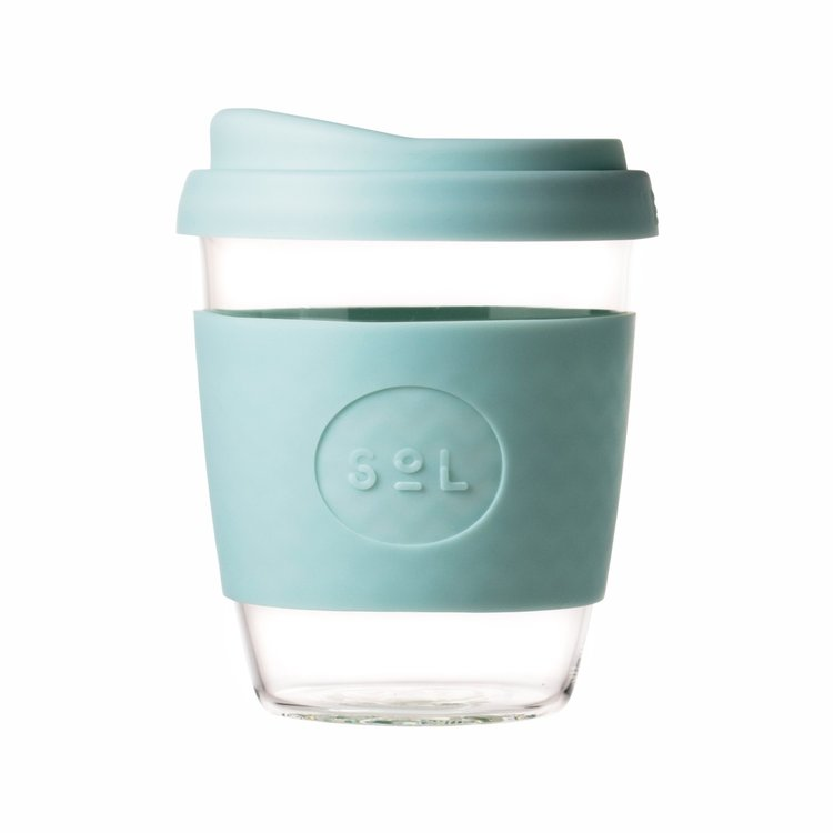 12oz Cool Cyan Reusable Glass Coffee Cup With Lid