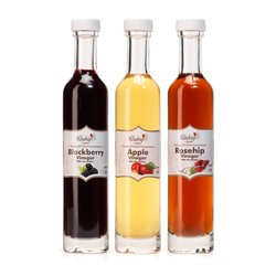 3 Raw Apple, Blackberry & Rosehip Vinegars Set with 'The Mother' (3 x 100ml)