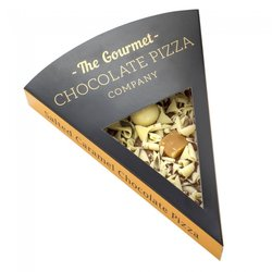 Salted Caramel Belgian Chocolate Pizza Slice Gift Box with White Chocolate Rice Balls 50g