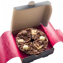 Mini 'Heavenly Honeycomb' Belgian Chocolate Pizza Gift Box with Vanilla Fudge & Chocolate Rice Balls 70g