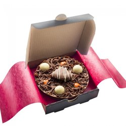 Mini 'Ultimately Orange' Belgian Chocolate Pizza Gift Box with Chocolate Rice Balls 70g