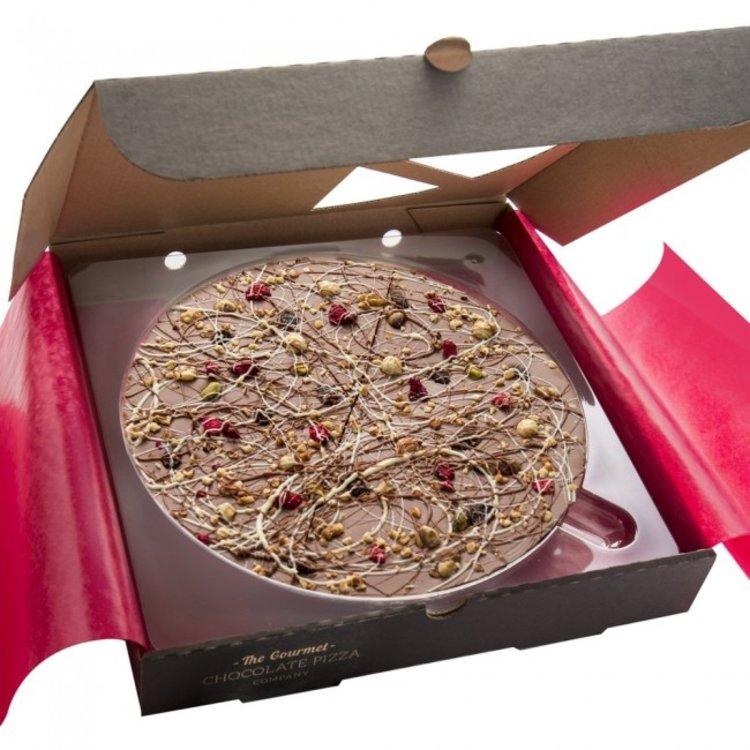 """7"""" 'Crunchy Munchy' Belgian Chocolate Pizza Gift Box with Vanilla Fudge 260g"""