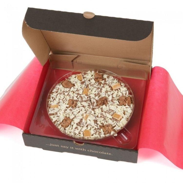 """10"""" 'Crunchy Munchy' Belgian Chocolate Pizza Gift Box with Vanilla Fudge 500g"""
