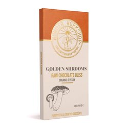 Golden Shrooms Raw 'Bliss' Chocolate Bar with Turmeric & Reishi Extract 40g (Organic, Vegan)