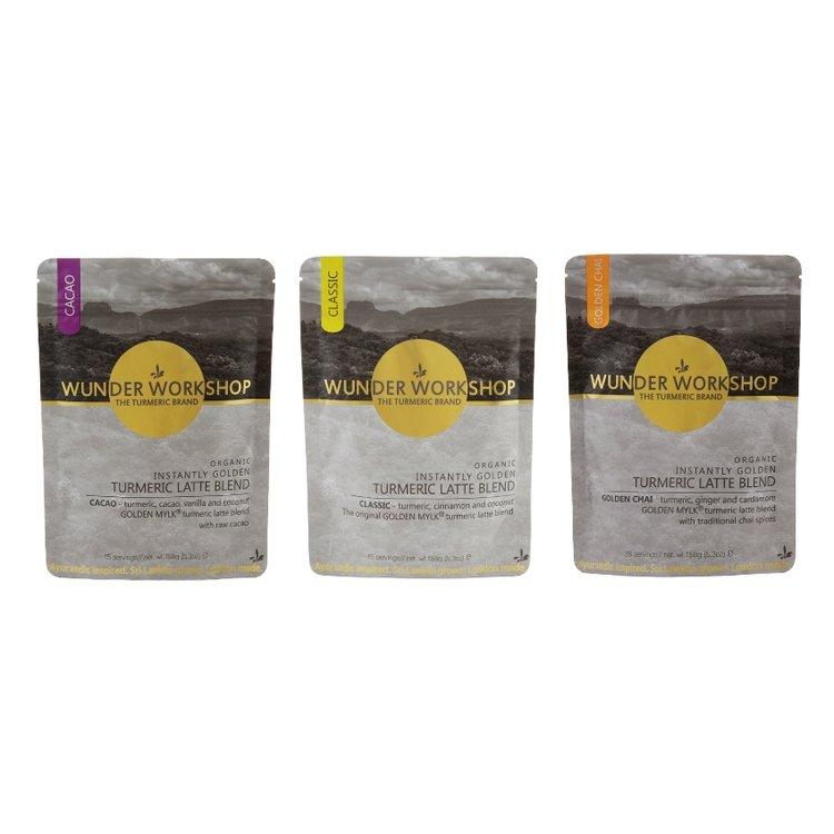 Golden Mylk Organic Turmeric Latte Drink Bundle Set Inc. Chai, Cacao & Classic Blends
