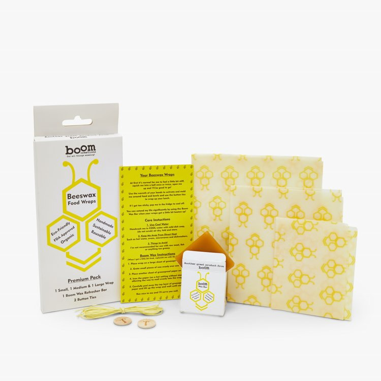 Reusable Organic Beeswax Food Wraps Inc. 3 Eco-Friendly Wrap Sizes